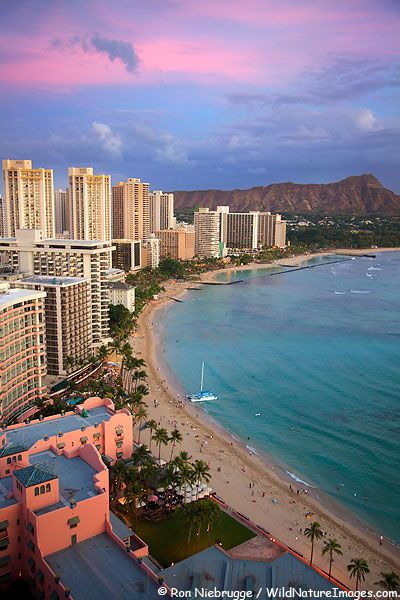 Sunset On Waikiki Beach Honolulu Oahu Hawaii Waikiki Is A